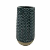 Holiday Home Ceramic Leaf Vase - Teal - 8.2 in