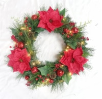 Holiday Home 24 in LED Poinsettia Wreath - 1 ct