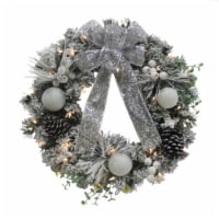 Holiday Home Pine and Berries Wreath with Battery Operated Warm White LED Lights - Silver / White - 24 in