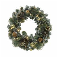 Holiday Home Pine Cone & Bell Ornament Wreath with with Battery Operated Warm White LED Lights - 24 in