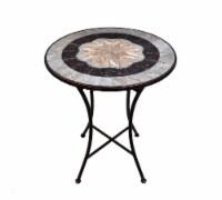 HD Designs Outdoors Tile & Metal Inlay Bistro Table - Tan/Gray