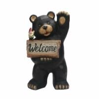 The Joy of Gardening® Solar Welcome Bear Statue - Black