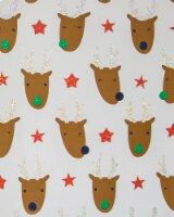 Holiday Home® Reindeer Faces Gift Wrap