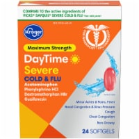 Kroger® Maximum Strength DayTime Severe Cold & Flu Softgels 24 Count