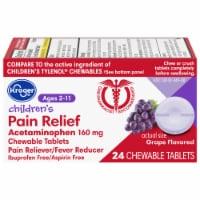 Kroger® Grape Flavored Children's Pain Relief Acetaminophen Chewable Tablets 160mg - 24 ct