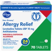 Kroger® 24 Hour Non-Drowsy Indoor & Outdoor Allergy Relief Tablets 10mg - 70 ct