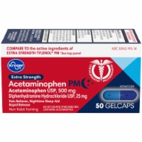 Kroger® Extra Stength Acetaminophen PM Gelcaps 25mg - 50 ct