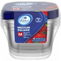 Kroger® 4 Cup Medium Square Containers - 4 Count With Lids
