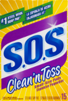 S.O.S® Clean 'n Toss Small-Size Steel Wool Soap Pads - 15 ct