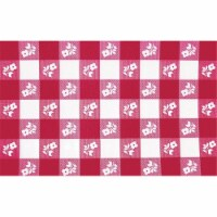 Creative Converting 30 x 96 Inch Red Gingham Plastic Stay Put Table Cover - 12 Count