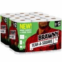 Brawny® Tear-A-Square Double Paper Towel Rolls - 12 rolls