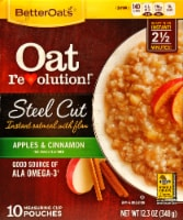 Better Oats Oat Revolution Steel Cut Apples & Cinnamon Instant Oatmeal with Flax
