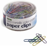 Officemate Giant Metallic Color-Coated Paper Clip - Assorted - 200 Pack