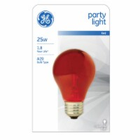 GE  A19  E26 (Medium)  Party Bulb  Red  1 pk - Case Of: 12; - Case of: 12