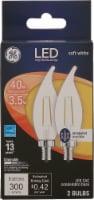 GE 3.5-Watt (40-Watt) Decorative Bent Tip Candelabra Base CAC LED Light Bulbs - 2 pk