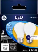 GE 5.5-Watt (60-Watt) Medium Base A15 LED Ceiling Fan Light Bulbs - 2 pk