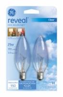 GE Reveal 25-Watt Candelabra Type B Light Bulbs - 2 pk