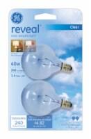GE Reveal 40-Watt Candelabra Base Globe G16.5 Light Bulbs - 2 pk