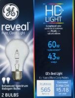 GE Reveal Enhanced Spectrum Halogen Light Bulbs - 2 pk
