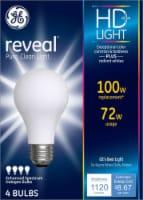 GE® Reveal 72-Watt (100-Watt) Halogen Light Bulbs - 4 pk