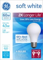 GE Energy-Efficient Soft White 43-Watt (60-Watt) Modified Spectrum A19 Halogen Bulbs - 4 Pack - 1 Count