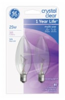 GE Crystal Clear 25-Watt Blunt Tip Candelabra Base Light Bulbs - 2 Pack