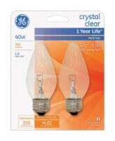 GE 40-Watt Flame-Shaped Blunt Tip Medium Base Light Bulbs - 2 pk