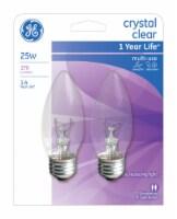 GE Crystal Clear 25-Watt Blunt Tip Medium Base Light Bulbs - 2 Pack