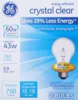 GE Energy-Efficient Crystal Clear Halogen Light Bulbs - 2 pk
