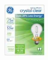 GE Crystal Clear 53-Watt (75-Watt) A19 General Purpose Halogen Light Bulbs - 2 pk