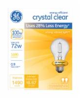 GE Crystal Clear 72-Watt (100-Watt) A19 General Purpose Halogen Light Bulbs - 2 pk
