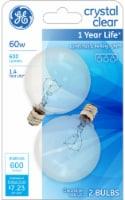 GE 60-Watt Candelabra Base Globe G16.5 Light Bulbs - 2 pk