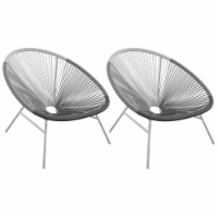 CosmoLiving by Cosmopolitan Avo Modern XL Lounge Chairs (2) in Black/White/Gray - 1