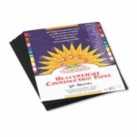 """SunWorks Construction Paper - Multipurpose - 9"""" x 12"""" - 50 / Pack - Black"""
