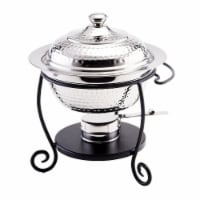 Old Dutch International 680 10 x 10.5 x 12 in. Hammered Stainless Steel Round Chafing Dish wi - 1