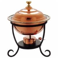 Old Dutch International 891 12 x 15 Inch Round Decor Copper Chafing Dish - 3 Qt - 1