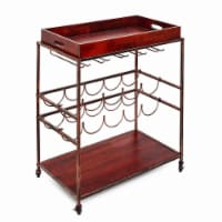 Old Dutch International 612BC Avalon Wine and Serving Cart  Antique Copper and Rosewood - 28