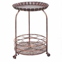 Old Dutch International 615BC Pop Wine and Serving Cart  Antique Copper - 17 x 17 x 25.5 in.