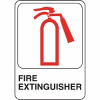 Hillman English White Fire Extinguisher Sign 5 in. H x 7 in. W - Case Of: 6; - Case of: 6