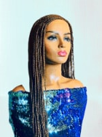2Chique Boutique Women's Layered Cornrow Box Braided Wig, with Baby Hair, Color 27 33 Inches - One Size Fits all