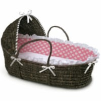 ESPRESSO Moses Basket with Hood and Pink Polka Dot Bedding