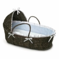 ESPRESSO Moses Basket with Hood and Blue Gingham Bedding