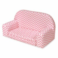 Upholstered Doll Sofa with Foldout Bed - Pink Chevron