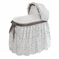 Wishes Oval Bassinet - Full Length Skirt - Gray/Leaf
