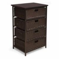 August Tall Four Basket Storage Unit - Espresso - Wicker Baskets - 1