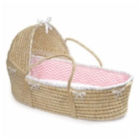 Natural Hooded Moses Basket - Pink Chevron Bedding