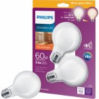 Philips 5.5-Watt (60-Watt) Medium Base Globe G25 LED Light Bulbs - 2 pk
