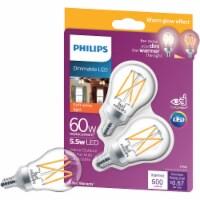 Philips 5.5-Watt (60-Watt) Candelabra Base Ceiling Fan A15 LED Light Bulbs - 2 pk