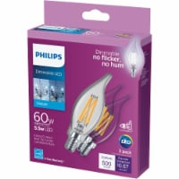 Philips 5.5-Watt (60-Watt) Candelabra Base Bent Tip Candle BA11 LED Light Bulbs