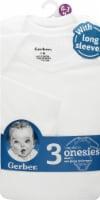 Gerber® Childrenswear Onesies® Babies' Long-Sleeve Mitten Bodysuit - White - 3 Pack